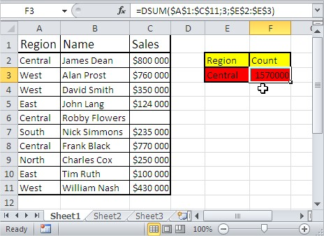 Excel database functions dsum