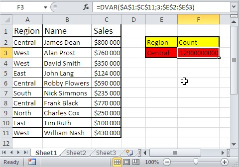 Excel database functions dvar