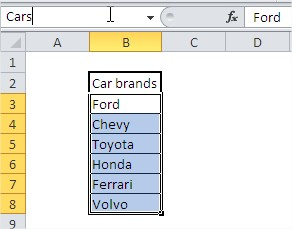 Excel drop down list name box