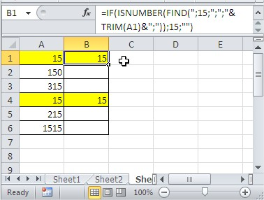 Excel find exact value