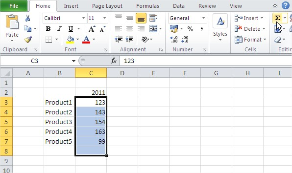 Excel function sum function alt plus equals