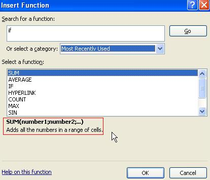Excel functions Insert Function sum function