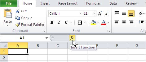Excel functions insert function button