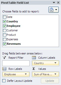 Excel pivot tables choose fields add report
