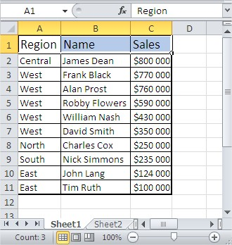 Excel sorting done