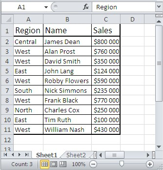 Excel sorting table