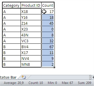 Excel status bar customized