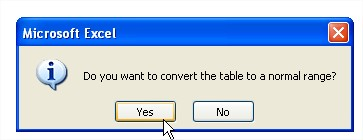 Excel tables convert the table to a normal range