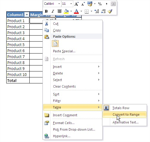 Excel tables convert to range