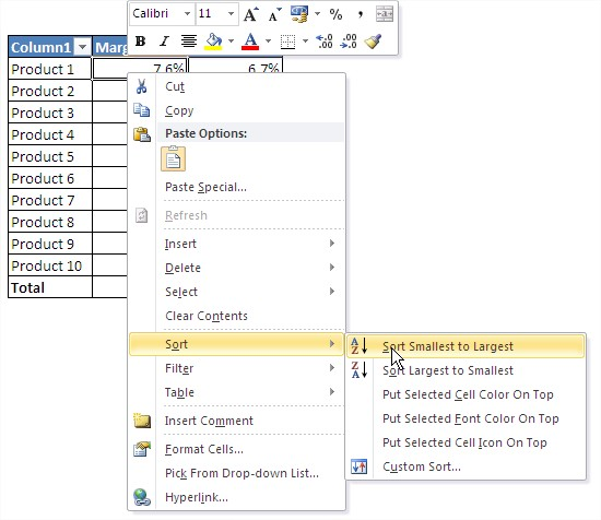 Excel tables sort smallest to largest