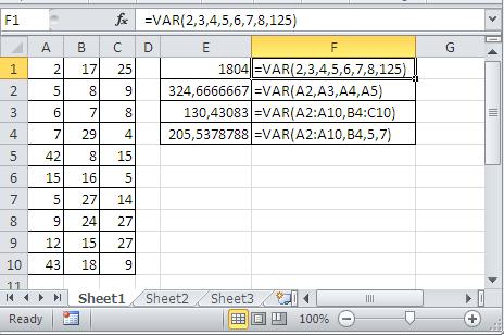 Excel variance examples