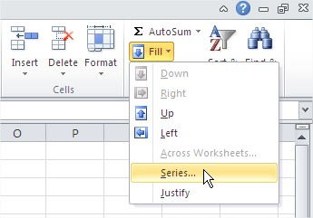 Fill Series Ribbon Excel