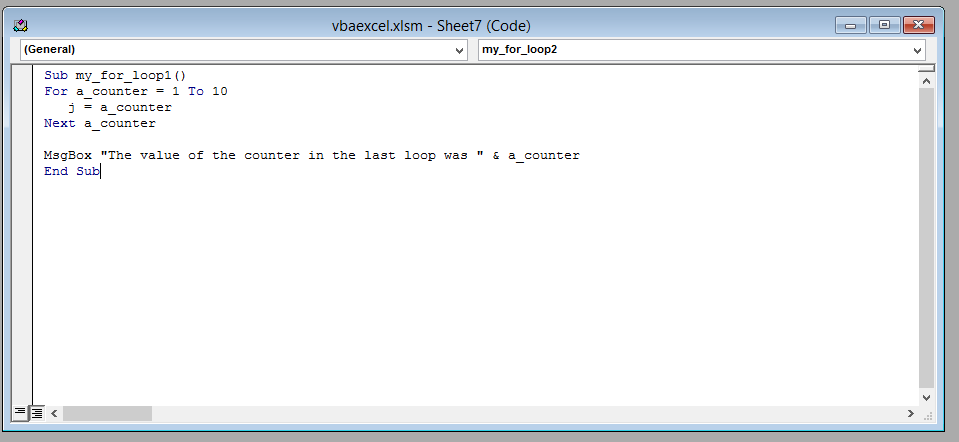 vba code counter