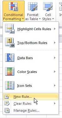 Format row new rule ribbon