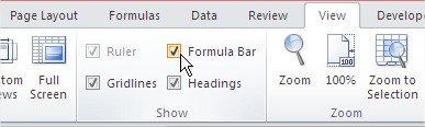 Formula Bar ribbon