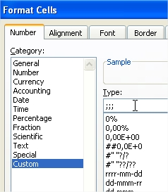 Format Cells Custom Type Semicolons
