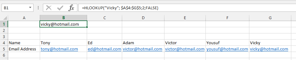 HLOOKUP Finds Email Address