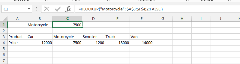 Look for Price Horizontally with HLOOKUP