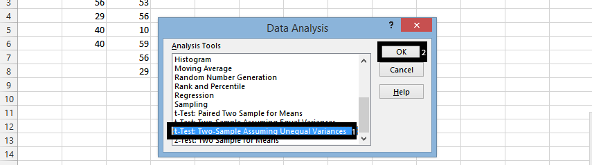 ttext two-sample assuming unequal variances