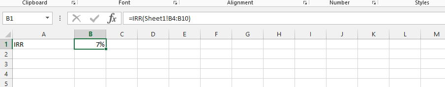 IRR from a Different Spreadsheet