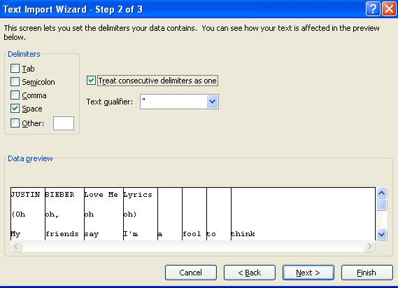 Text Import Wizard Step 2 of 3