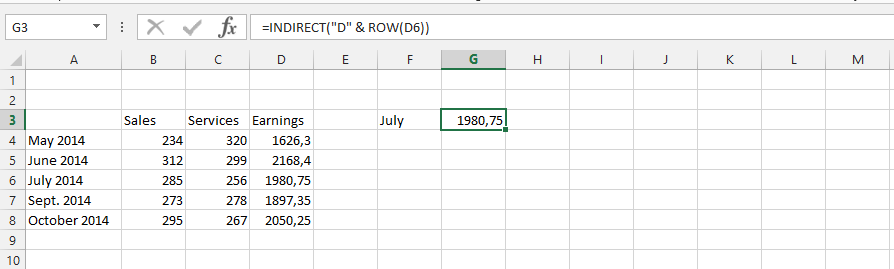 Finding a Specific Value with Indirect  Row Function