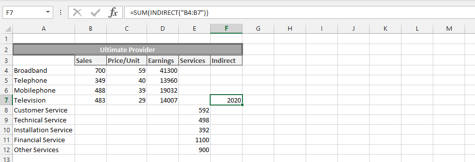 Knowing Sales with SUM and INDIRECT Function