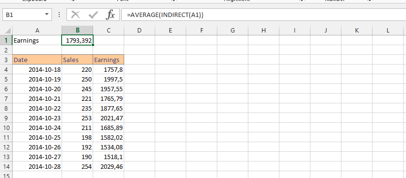 Using Average with Indirect Function