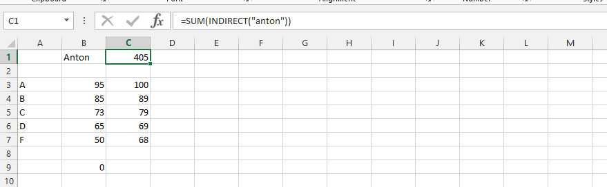 Using Sum and Indirect Function