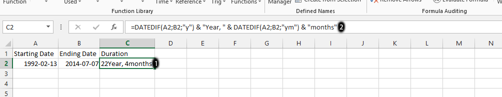 Length of Service DATEDIF