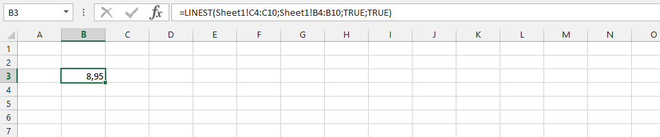 Linest on Different Spreadsheet