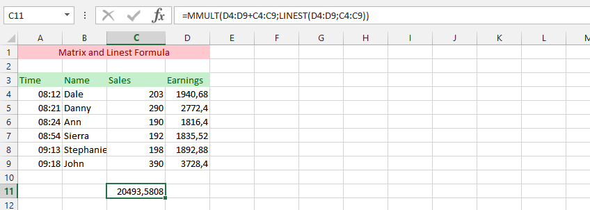 MMULT and LINEST Formula Simultaneous Usage