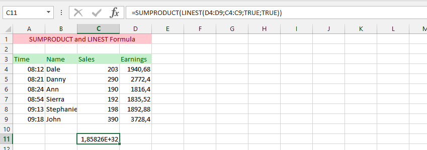 SUMPRODUCT  LINEST Formula Simultaneously