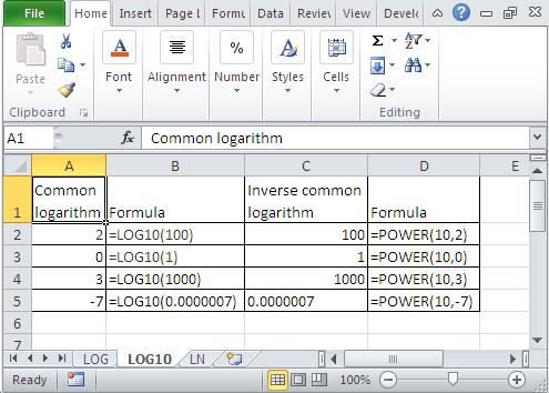 Excel common logarithm