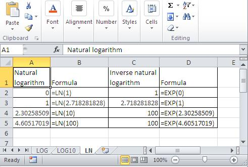 Best excel tutorial how to calculate logarithms and inverse excel natural logarithm sciox Choice Image