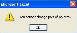Microsoft Excel array functions message