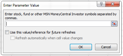 Monitor Stock Prices enter parameter value