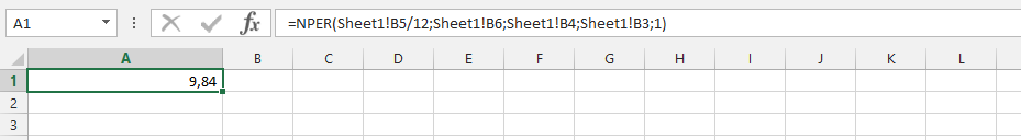 Understanding Usage of NPER Formula with another Spreadsheet