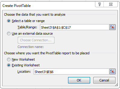 Slicer Create Pivot Table