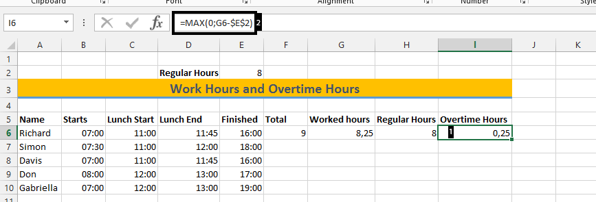 best excel tutorial how to calculate overtime hours