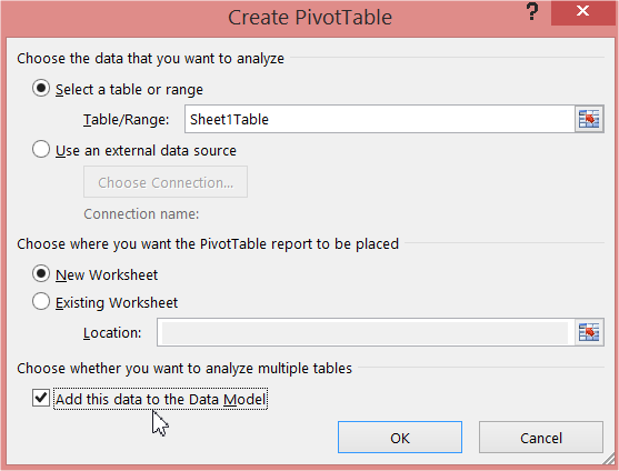 Create PivotTable Data Model
