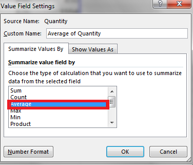 Summarize value field by Average