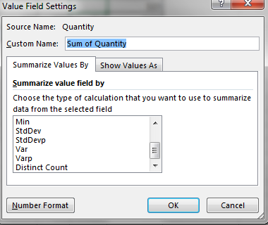 Value Field Settings Distinct Count