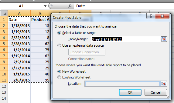 dialog box create pivot