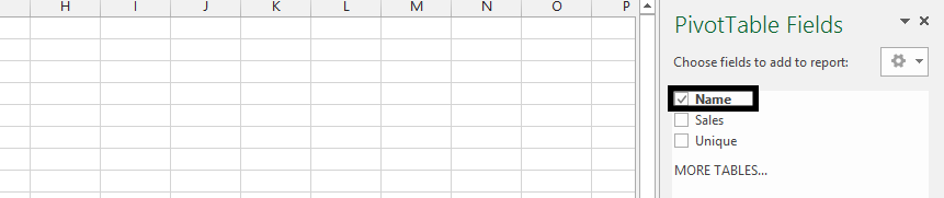 pivot table fields name