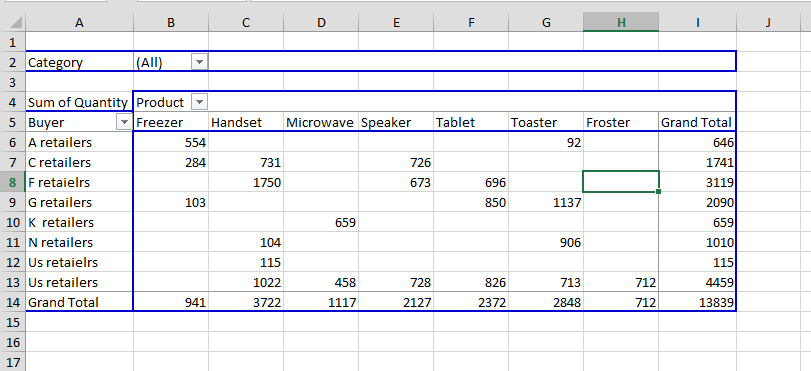 refresh pivot table data