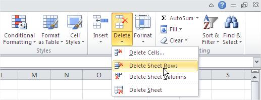 Remove Rows Delete