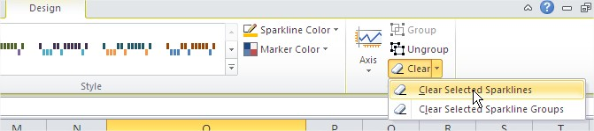 Ribbon Clear Selected Sparklines