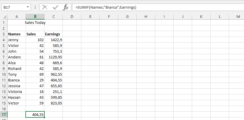 Using SUMIF with Table