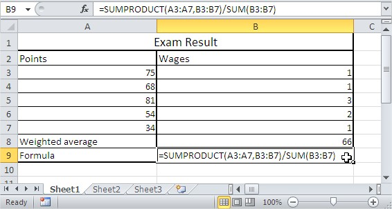 SUMPRODUCT exam result